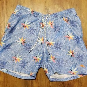 Tommy Bahama blue pinwheel floral swim trunks